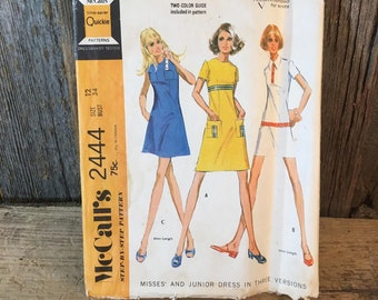 Vintage McCalls 2444, 1970 McCalls dress in three different versions, sewing pattern size 12, retro dress pattern, size 12 dress pattern