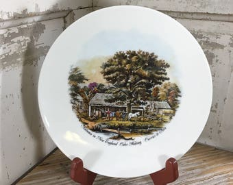 Vintage collectible plates, Scherzer Bavaria W. Germany, Autumn in New England Currier and Ives collectors plate, hanging plate