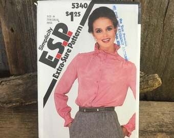 Vintage Simplicity 5340 ESP from 1981 uncut, front buttoned blouse, easy to sew, extra sure pattern, size 10, 12, 14, 1980's shirt, blouse