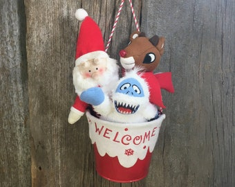Dan Dee Rudolph Collectors choice Christmas collection, Rudolph, Santa and Bumble in a bucket, bucket Christmas decor, cheery holiday decor