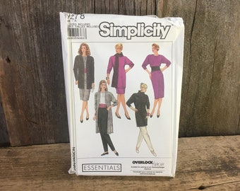 Vintage Simplicity 9278 pattern, uncut from 1989 unlined jacket, dress, tunic, top, skirt, pants, scarf and tube, entire sewing pattern