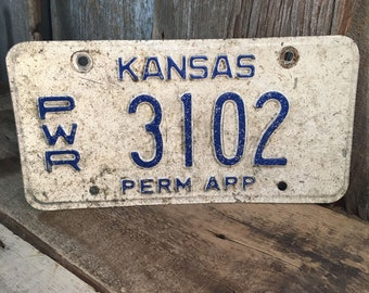 Vintage Kansas license plate, vintage Kansas PWR license plate, Kansas blue and white license plate, Kansas license plate number 3102