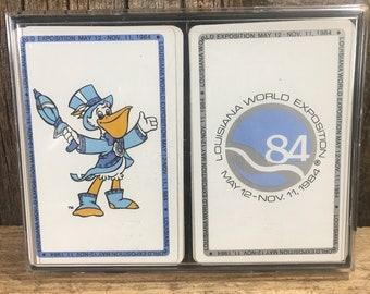 Vintage from 1984 Louisiana World Exposition playing cards, paint of World Expo used playing cards, vintage World Expo memorabilia,