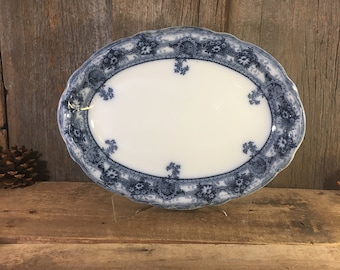 Vintage Stanley Pottery Co, Early 20th century platter, Clive pattern Stanley Pottery made in England, beautiful cobalt floral blue platter