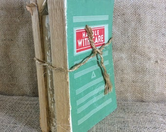 Vintage old book decor, handle with care book decor, super cool vintage shabby chic book decor, library decor, office decor