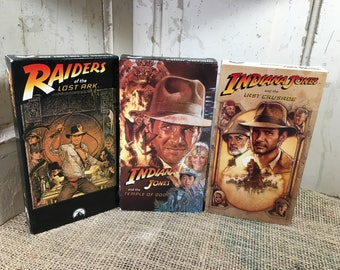 Indiana Jones Trilogy box set of Raiders of the Lost Ark, The Temple of Doom and The Last Crusade, vintage VHS box set, Collectors Edition