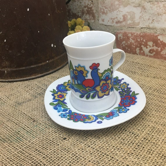 Beautiful Quadrille Sango Japan Market Place pattern cup and saucer, Quadrille cup and saucer, Sango cup and saucer, Japan cup and saucer