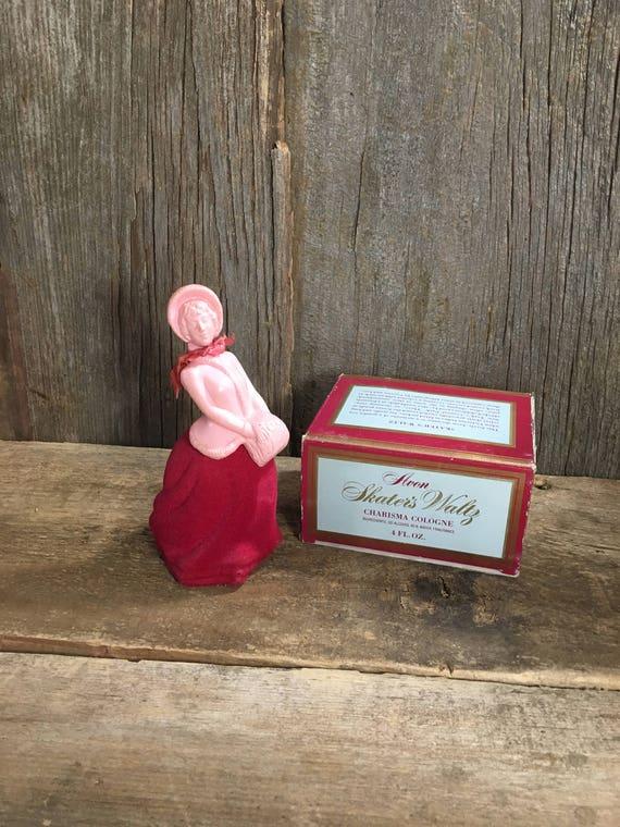 Vintage Avon Skaters Waltz with original box, vinatge avon bottle, velvet Avon, avon collectible, avon collectors, Charisma Cologne inside