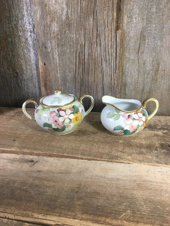 Vintage from early mid century Hand Painted Nippon sugar and creamer set, beautiful floral nippon creamer and sugar set, early century decor