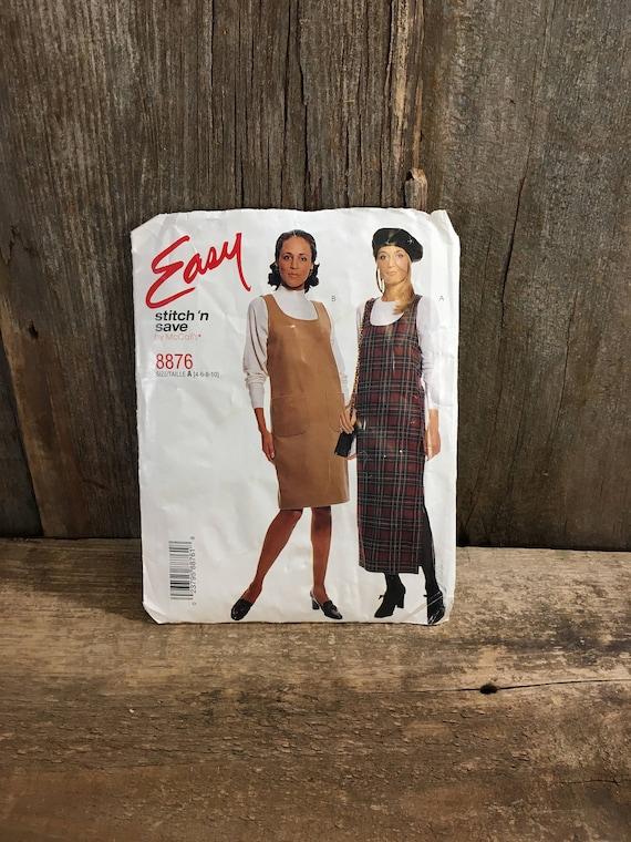 McCalls 8876, vintage McCalls pattern, Uncut pattern misses jumper in two lengths, boho look pattern, uncut sewing pattern from 1997