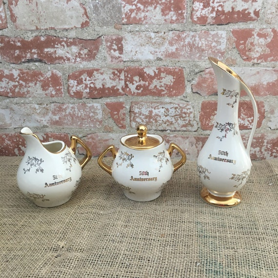 Vintage Dalton Pearl China Co cream sugar and pitcher, Pearl China Co 50th Anniversary 22 kt gold, Dalton Pearl China three piece set