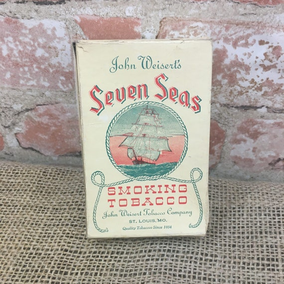 Vintage John Weisert's Seven Seas smoking tobacco box, tobacco box, vintage tobacco decor, tobacco box, Seven Seas tobacco box decor