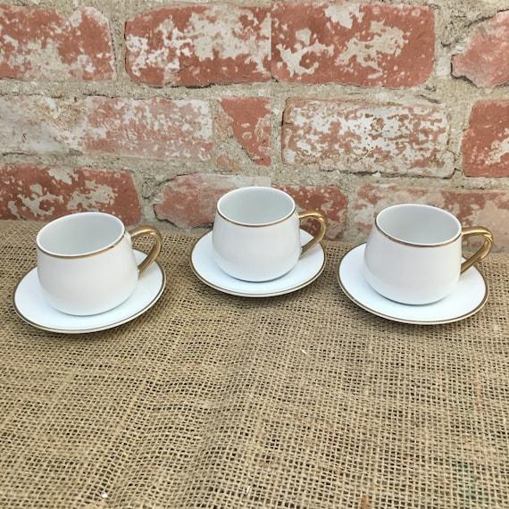 Set of three Andrea by Sadek demitasse cups and saucers, Andrea by Sadek cups and saucers, vintage cups and saucers, demitasse cups