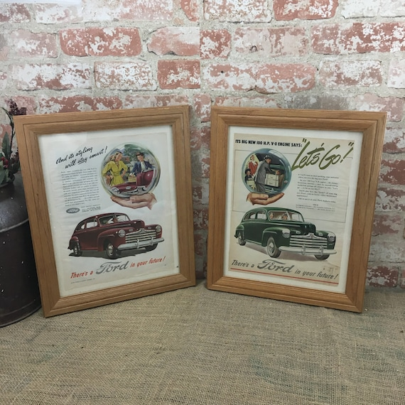 Vintage Framed Ford magazine page advertisements, Oak framed vintage Ford ads,Better Homes and Garden Ford ads,There's a Ford in Your Future