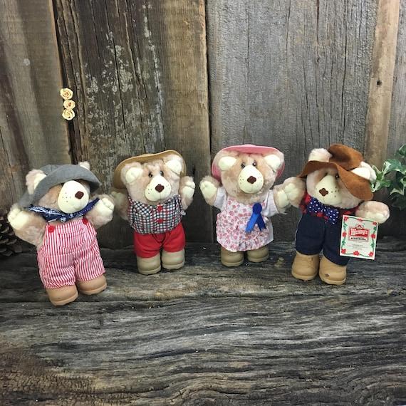 Vintage Wendy's Furskins, set of four Furskins toys, set of Furskins bears, bear collectors, Furskins collectors, fast food toy collector