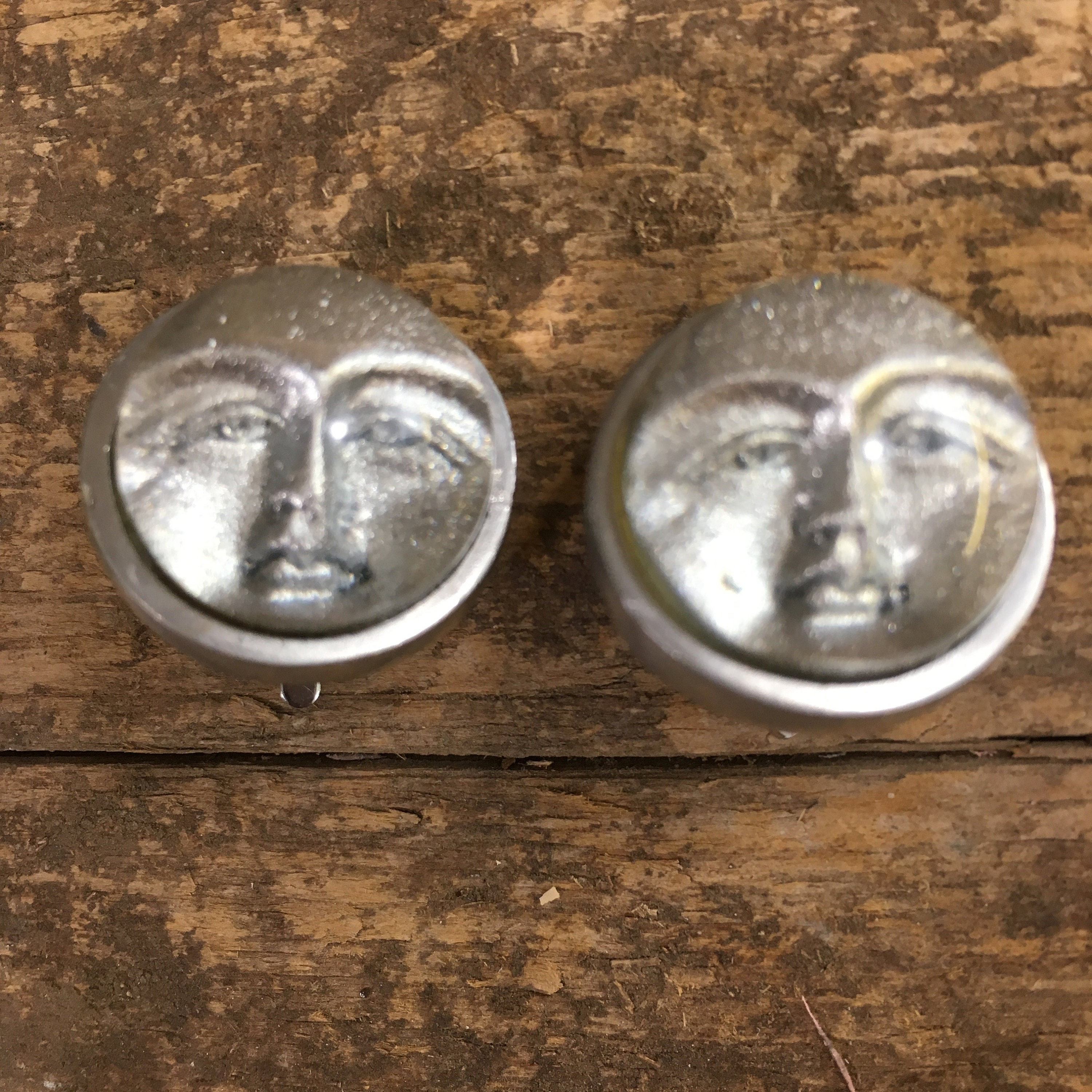 Unique vintage Moon face earrings, silver moon faced clip on