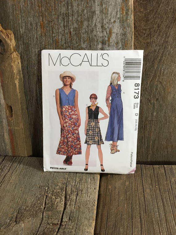 McCalls 8713, uncut sewing pattern from 1996, Misses dress or jumper pattern, size 12-16 uncut vintage pattern, pullover jumper pattern