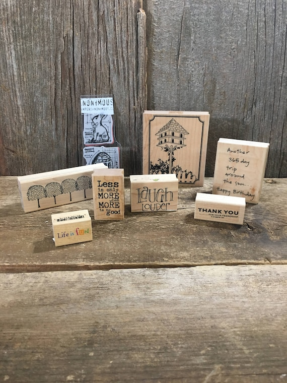 lot of nine rubber stamps, rubber stamps,  crafting stamps, wood mounted stamps, Thank you stamps, Birthday rubber stamp, Easter stamps