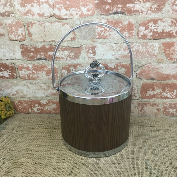 Vintage faux wood ice bucket, vintage 1950's ice bucket, vintage barware, vintage bar decor, 1950's party ice bucket,Chrome and faux wood
