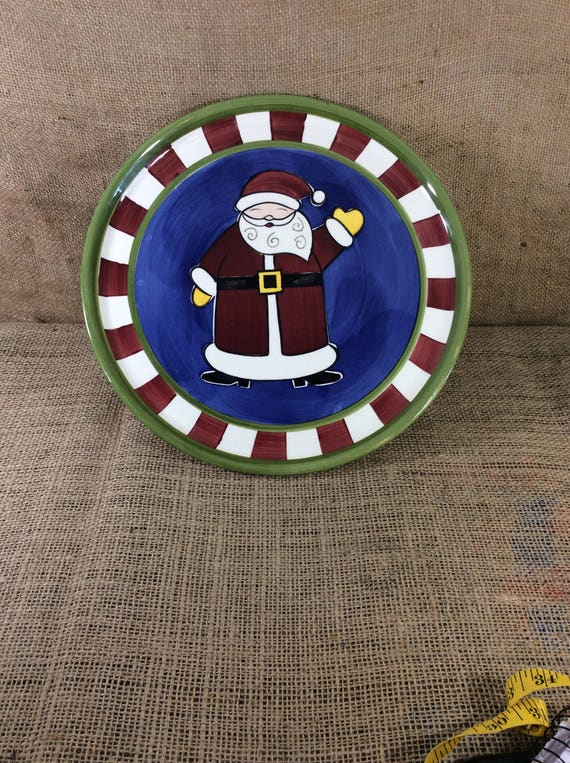 Vintage World Market Santa Claus cake stand, Holiday decor, holiday kitchen decor, Christmas serving plate, Santa Claus cookie holder