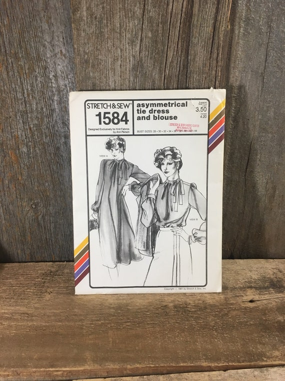 Vintage Stretch and Sew Ann Person pattern 1584 from 1981, ann person asymmetrical tie dress and blouse 1981 patterns, retro sewing