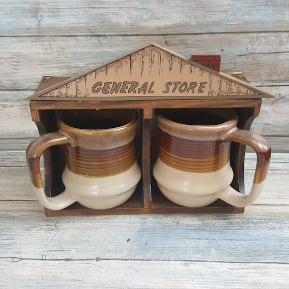 Country Store mug set, pair of coffee mugs with wall mounted stand, vintage country kitchen decor, pair of brown mugs
