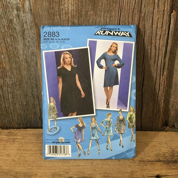 Simplicity Project Runway pattern, uncut Project Runway size 14-22, Simplicity 2883 from 2008, dress with over bodice and sleeve variations
