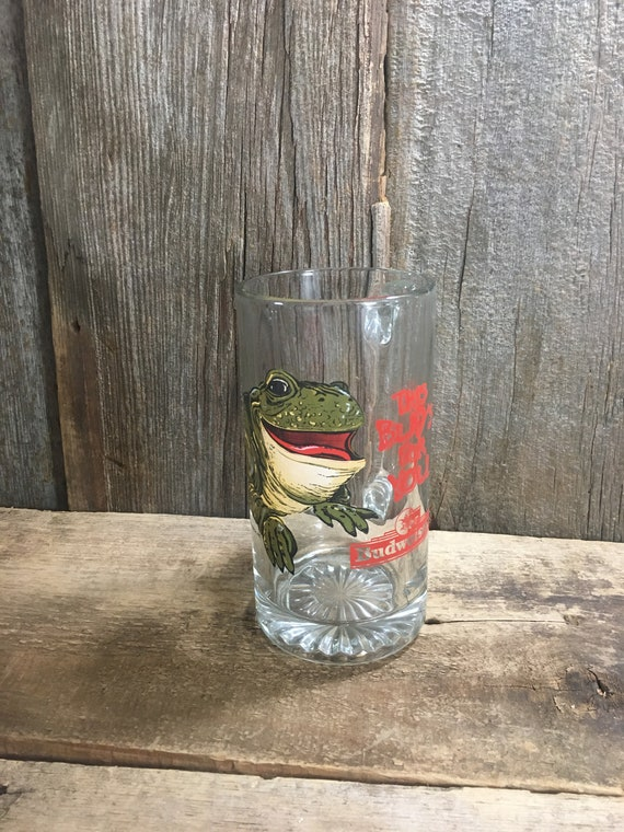 Vintage Budweiser beer mug, collectible This Buds For You glass tall mug, Anheuser Busch collectors frog mug, Budweiser frog glass mug