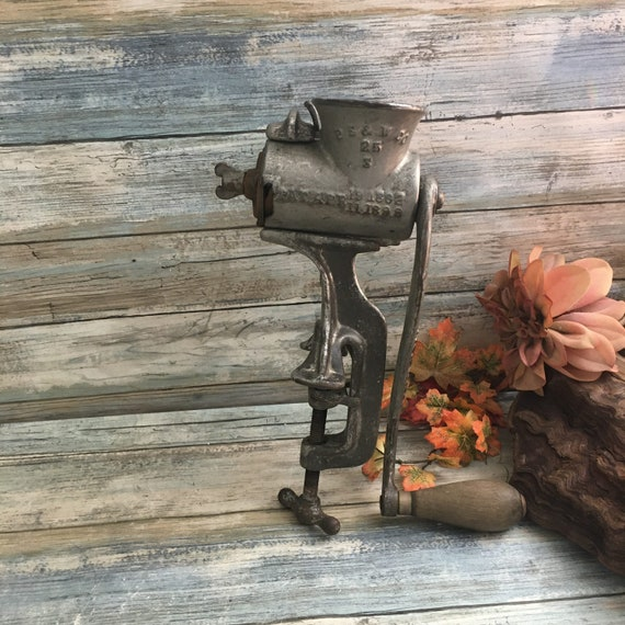 Antique P S & W Co grinder, early turn of the century grinder, antique kitchen decor, industrial kitchen decor, vintage rusty kitchen decor