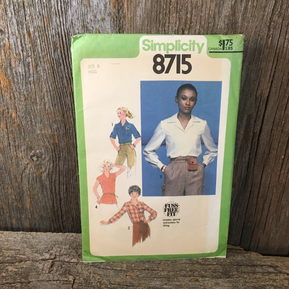 Vintage Simplicity 8715, size 8 Simplicity sewing pattern, size 8 blouse and tie belt, simplicity shirt pattern, fuss free fit pattern