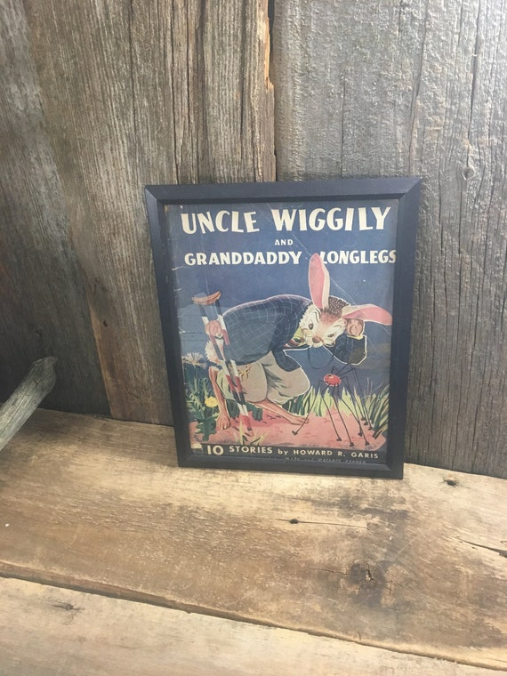 Vintage Uncle Wiggily framed book from 1943, Uncle Wiggily and Granddaddy Longlegs, Howard R. Garis, vintage childrens book decor, vintage