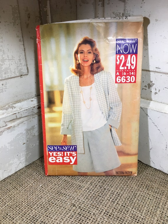 Butterick 6630 from 1993, See n sew pattern, misses jacket , shorts and top, sew your own outfit, 1990's sewing pattern, easy pattern