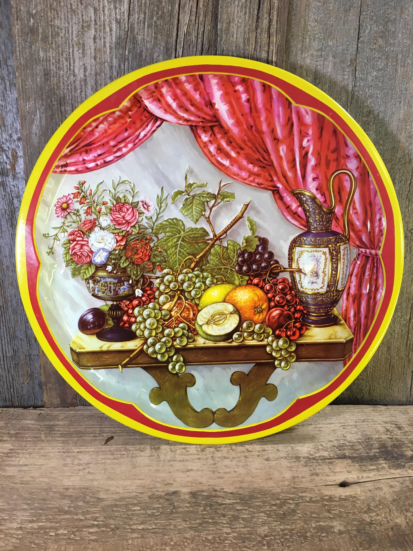 Vintage Round Daher Serving Tray Fruit Designed Tray Vintage Decor