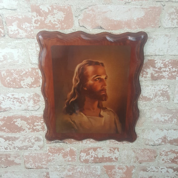 Vintage Warner Sallman Jesus print, vintage decoupage plaque with scalloped edges, vintage litho by Warner Sallman 1940's, 1940's lithograph