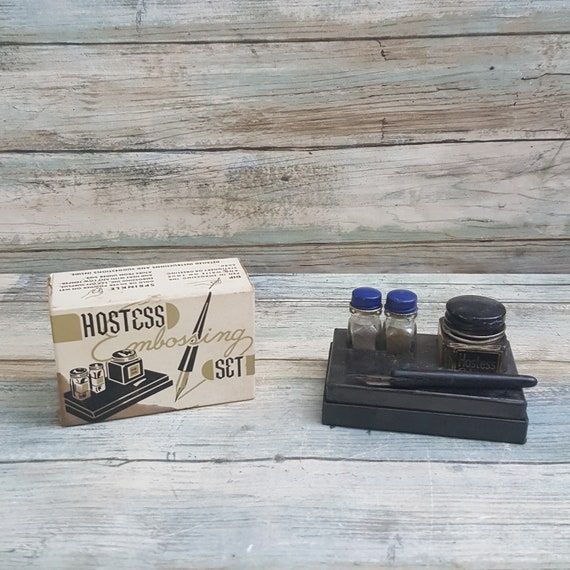 Cool mid century Hostess Embossing Ink set, 1950's ink and embossing set jars and pen, 1950's embossing set for decor, Hostess Embossing co