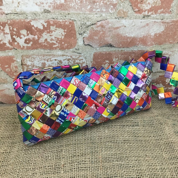 Super colorful vintage handmade candy wrapper purse, candy wrapper handbag, vintage candy purse, candy wrapper handbag, colorful candy purse