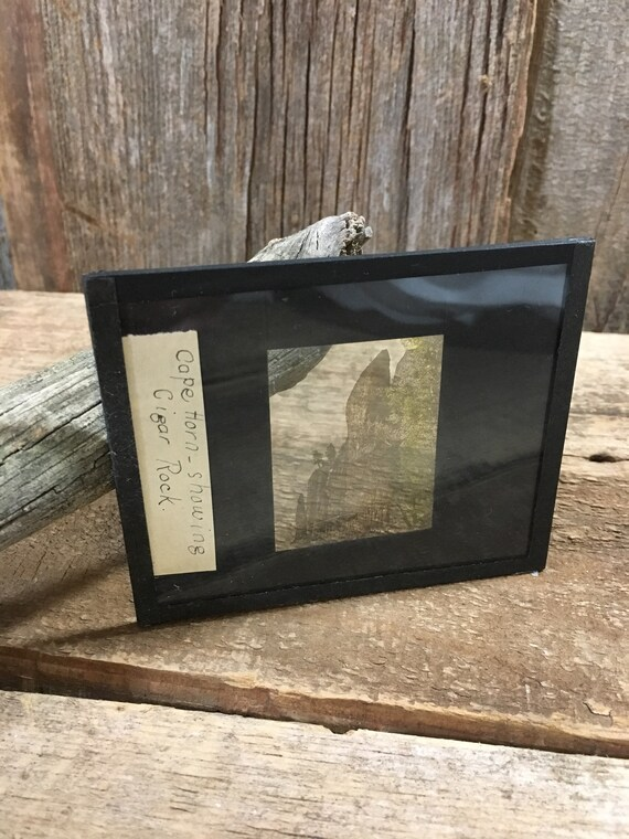 Vintage lantern slide of Cape Horn showing Cigar Rock, vintage pictures, vintage photos, unique decor, vintage Cape Horn slide, cigar rock