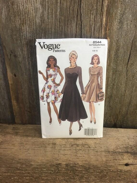 Vintage uncut Vogue sewing pattern, Vogue 8544, Butterick vogue 8544, uncut Vogue pattern from 1992, fitted and flared vogue dress