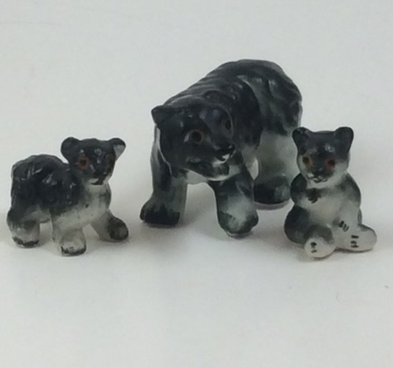 Vintage miniature bears, miniature momma bear and cubs, vintage miniature animals, miniature collector addition, Christmas gift, bear collec