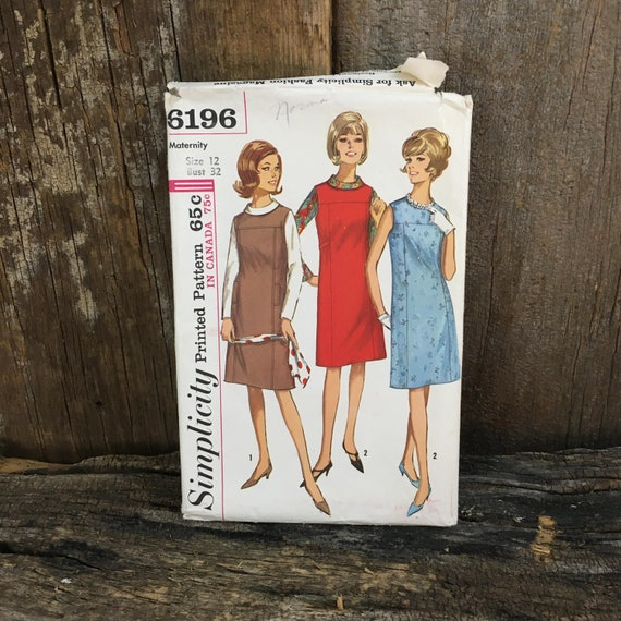 Vintage uncut Simplicity 6196, Simplicity 6196 sewing pattern, Size 12 sewing pattern, 1960's maternity dress pattern, maternity pattern
