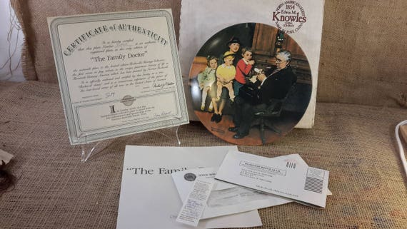 Vintage limited edition Norman Rockwell plate The Family Doctor 1992, Knowles fine china, a true rockwell classic, collectible plates