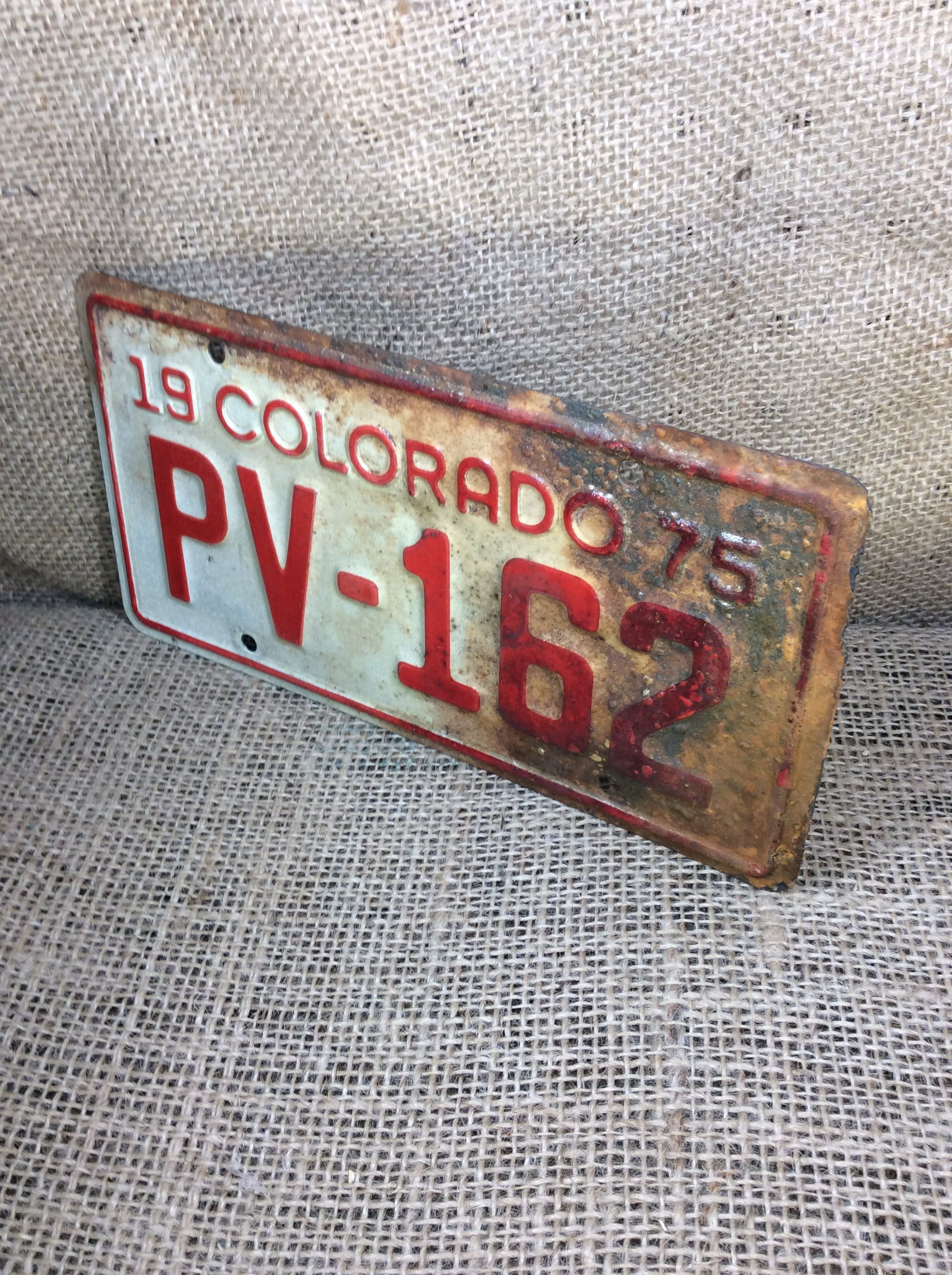 Vintage Colorado motorcycle plate, 1975 red and white Colorado ...