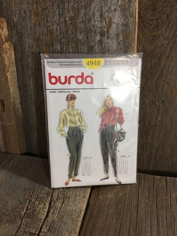 Uncut Burda sewing pattern, Burda 4948,  pattern by Verlag Aenne Burda, pants pattern by Burda, sew your own pants, pattern for pants