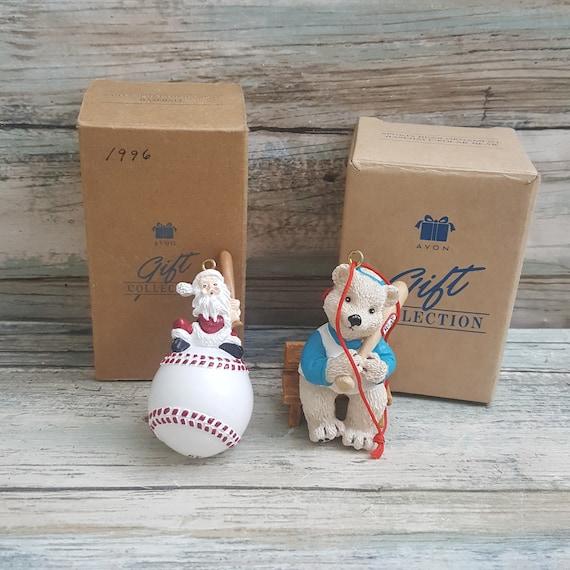 Pair of Vintage Avon sports ornaments, Avon baseball ornaments, Avon Santa sports ornaments, Avon sports bear ornament, avon gift collection
