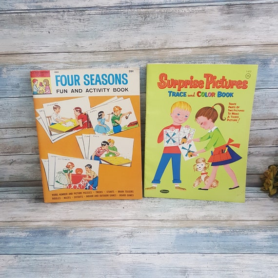 Vintage unused 60's childrens play books,vintage trace and color books,Four Seasons fun and activity book,surprise pictures trace and color