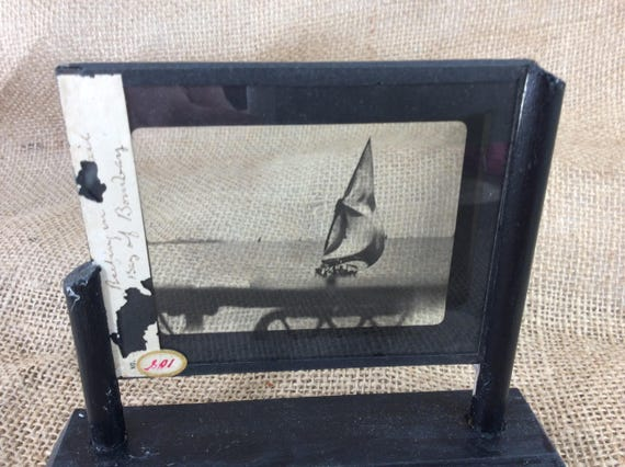 Vintage lantern slide of of a sailboat at the Bay of Bombay, vintage pictures, vintage photos, unique decor, vintage Bay of Bombay slide