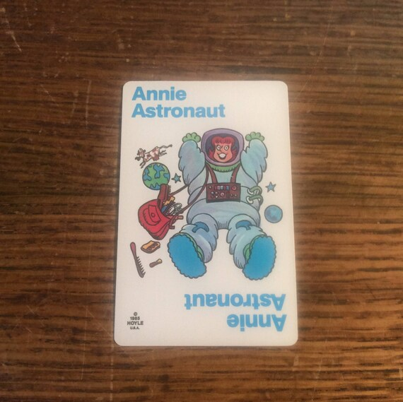 Old Maid card replacement from 1985 Hoyle deck, Annie Astronaut, replacement Old Maid cards, complete your Old Maid deck, Nothings New Here