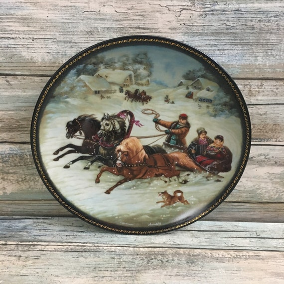 Bradford exchange Village Life of Russia Series A Winter Sleigh Ride Collectors plate, Russian collector plate, collectible plate