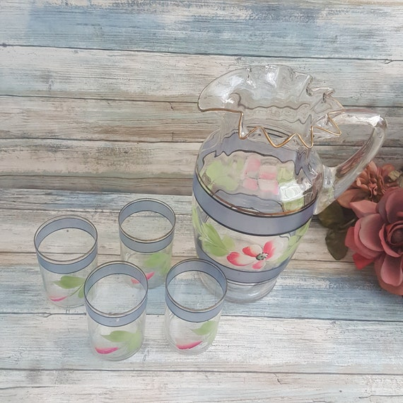 Beautiful Victorian style ruffle top Lemonade set, Ruffle top pitcher and four glasses, hand painted lemonade set, pitcher and four glasses