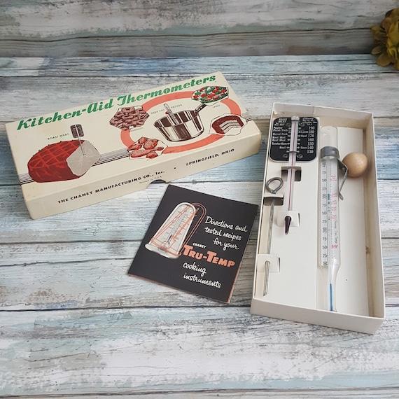 Vintage Kitchen-Aid thermometer set, vintage candy thermometer, vintage meat thermometer, vintage thermometer set, Chaney tru-temp